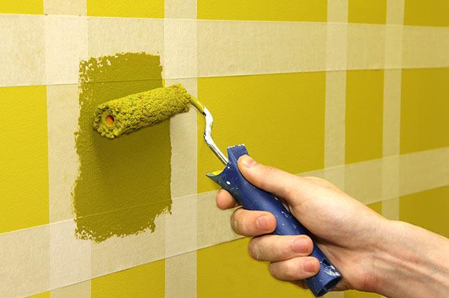pintura de parede com fita crepe
